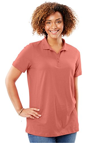 Ribbed Polo Shirt (Women's Plus Size Short Sleeve Perfect Polo Tee Dusty Coral,2X)