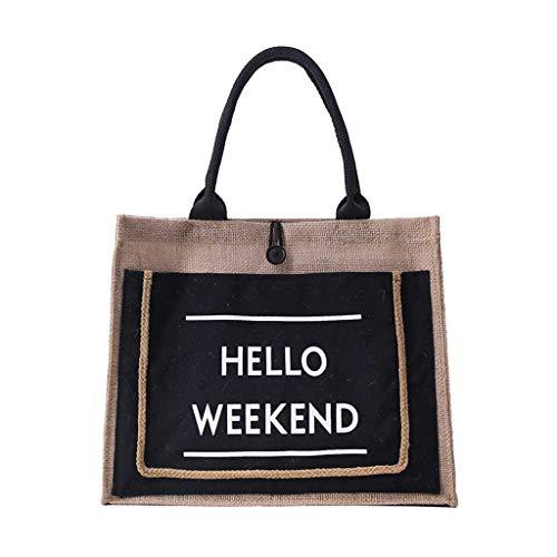 Womens Girls Linen Handbag Shopping Bag Large Capacity Lunch Bags Casual Fashion Shoulder Bag Daily Work Tote (35x13.5x30cm, Black)