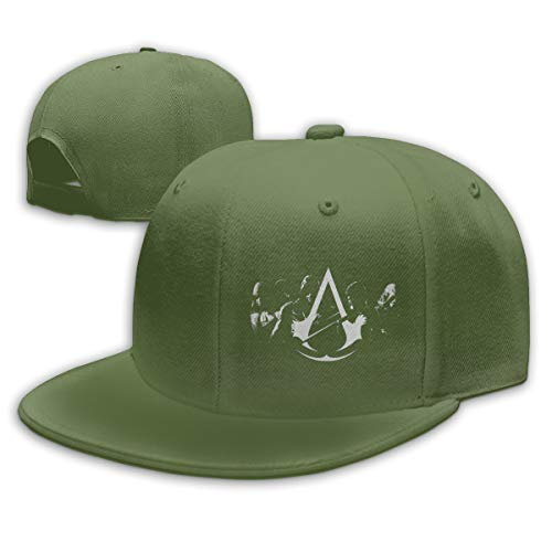 Chouven Womens Men Baseball Caps Assassin's Creed Unity Logo Adjustable Snapback Flat Brim Hip Hop Hat Unisex Moss ()