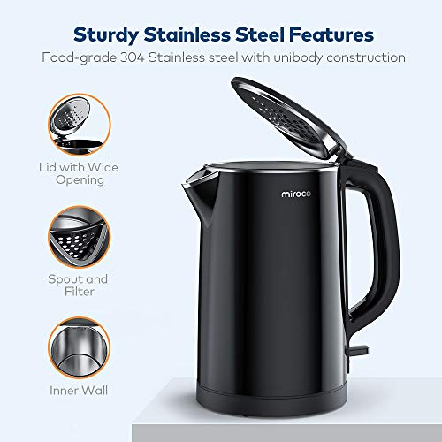 Electric Kettle, Miroco 1.5L Double Wall 100% Stainless Steel BPA-Free Cool Touch Tea Kettle with Overheating Protection, Cordless with Auto Shut-Off & Boil Dry Protection, 1500W Fast Boiling Heater by Miroco (Image #1)