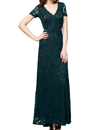 Festlichkleider Damen Kurzarm Brautmutterkleider Abendkleider Charmant Langes Promkleider Spitze Braun Blau Dunkel aqtw6x18x