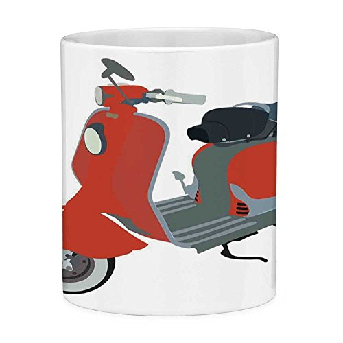 Lead Free Ceramic Coffee Mug Tea Cup White 1960s Decorations 11 Ounces Funny Coffee Mug Motor Scooter Doodle in Nice Sixties Style Driving Motorcycle Urban Cartoon Clipart Decorative