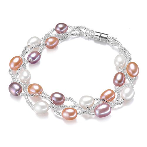 Silver Plated Two-Row AA+ Quality White Pearl Beaded Bracelets Women Wedding Jewelry Bridesmaids (Crystal Double Row Bracelet)