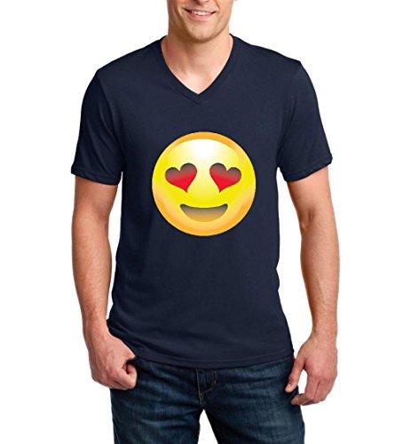 Emoji T-Shirt Emoji Smiling Face w Heart-Shaped Eyes Cute Birthday Gift Men V-Neck Shirts - Shaped With Men Heart Faces