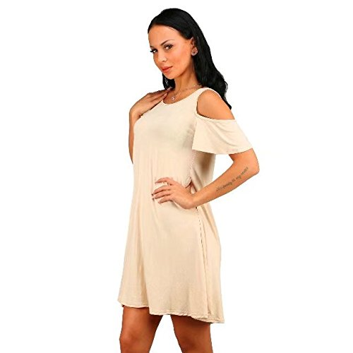 Cold Beige BetterGirl Dress Womens TM Loose Casual T Shirt Dresses Shoulder Swing Short Sleeve BOHqtnO