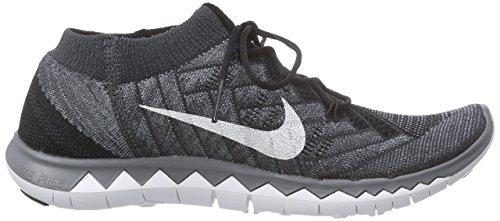 Nike Free 3.0 Flyknit, Scarpe da Corsa Donna Nero (Nero / Bianco-antracite-drk Gry)