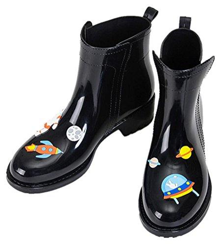 Dames Antislip Korte Enkel Hoge Rubberen Laarzen Regenlaarzen Zwart