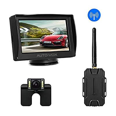 AUTO-VOX M1W Wireless Backup Camera Kit,IP 68 Waterproof LED Super Night Vision License Plate Reverse Rear View Back Up Car Camera,4.3'' TFT LCD Rearview Monitor for Vans,Camping Cars,Trucks,RVs