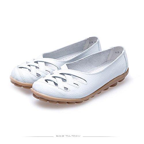 Oriskey Mocasines de cuero mujer Loafers Casual Zapatos Zapatillas Blanco