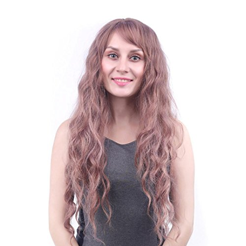 Women Long Synthetic Curly Dress Party Wigs Heat Resistant With Air Bang Willsa