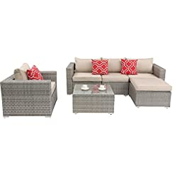 Garden and Outdoor Do4U Patio Furniture Set 6-Piece Outdoor Lawn Backyard Poolside All Weather PE Wicker Rattan Steel Frame Sectional… outdoor lounge furniture
