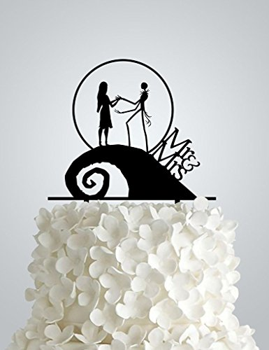 Nightmare Before Christmas Wedding Decorations (AWAC44S - Acrylic Wedding cake Topper inspired by Nightmare Before)