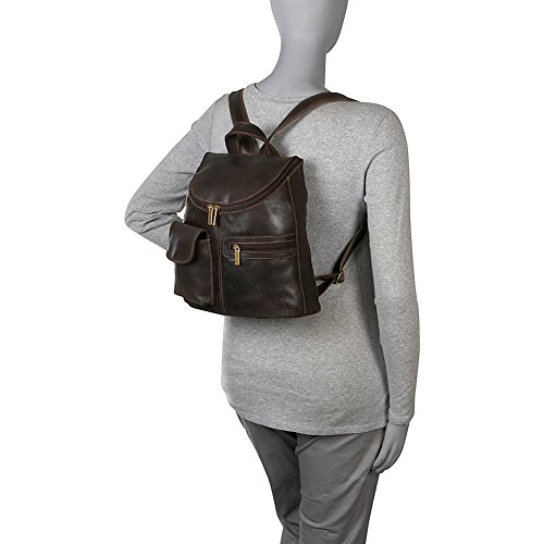 Distressed Purse Le Leather Backpack Womens Donne Chocolate Leather 6BWqZqpAwx