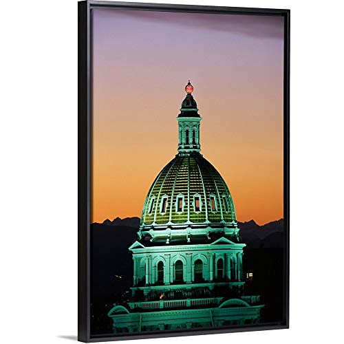 Floating Frame Premium Canvas with Black Frame Wall Art Print Entitled Colorado State Capitol Building Denver CO 12