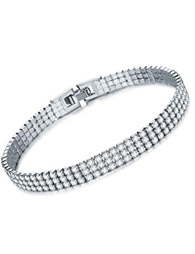 - YIBA Tennis Bracelets for Women White Gold Plated 3 Rows Link CZ Cubic Zirconia Bracelet (White Gold)