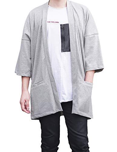 Men's Long Oversized Kimono Cardigan Noragi Japan Jacket Haori Man Yukata Coat (Gray)