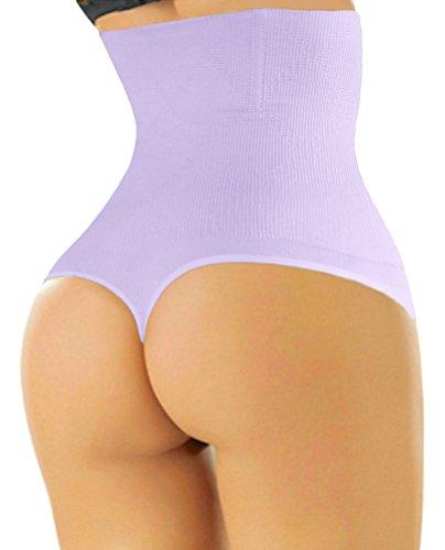 (ShaperQueen 102 Best Womens Waist Cincher Body Shaper Trimmer Trainer Slimmer Girdle Faja Bodysuit Short Tummy Belly Control Brief Corset Plus Size Underwear Shapewear Thong (XXL, Light Purple))