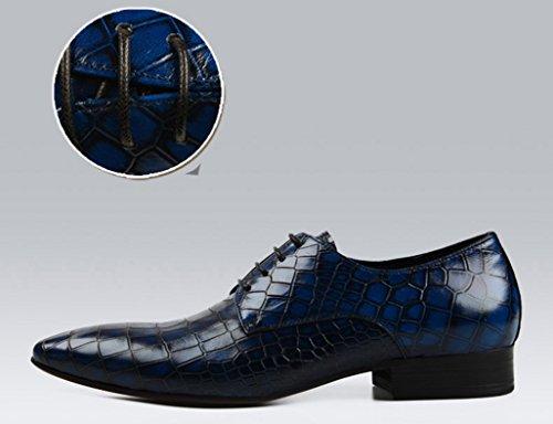 Scarpe Uomo in Pelle Scarpe in pelle da uomo con punta singola in pizzo traspirante ( Colore : Blu , dimensioni : EU39/UK6 ) Blu