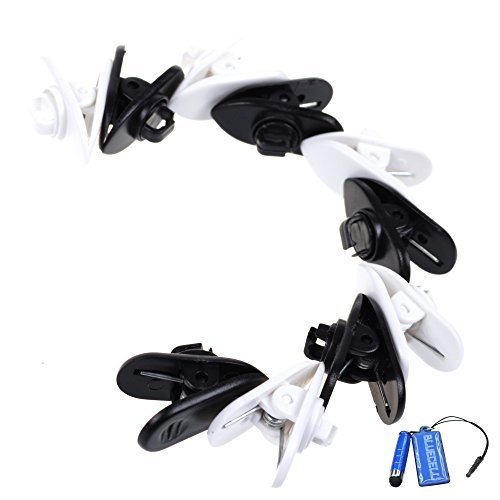 BCP 5pcs Black Color 5pcs White Color Rotate Mount Headphone Headset Cable Cord Clip Holder- Clips onto Your Clothing to Keep Earphone/Microphone Cord in Place