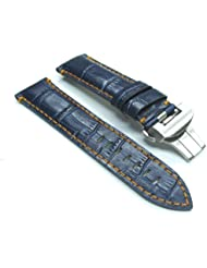 22mm Leather Deployment Band Strap for Panerai Blue #18OS