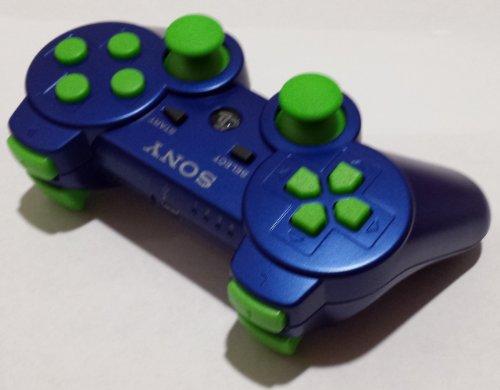 PS3 Metallic Blue Lime Green buttons Rapid Fire Modded Controller 30 MODE for Black Ops 2 Cod Mw3 Sniper Breath Jump Shot Jitter (Metallic Blue Ps3 Controller)
