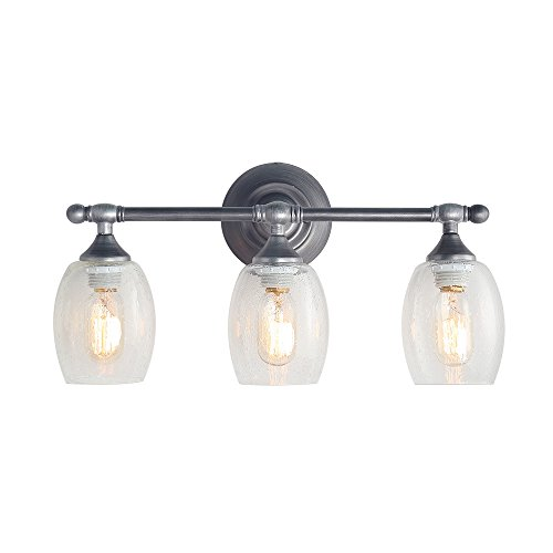 - LOG BARN 3-Light Bathroom Vanity Lighting Wall Lights Aged Steel Wall Sconces Vanity Lights
