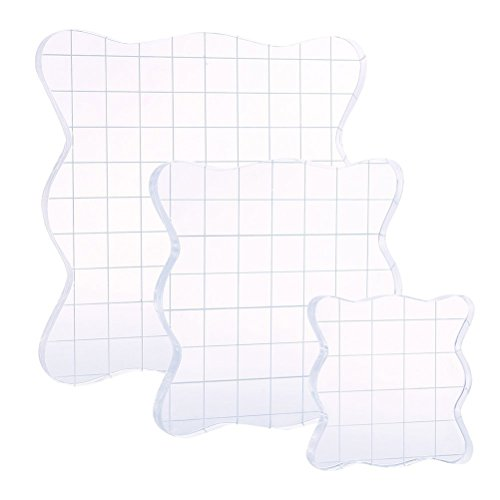 ROSENICE Stamping Blocks Acrylic Clear Rubber for Scrapbooking Crafts Making 3pcs