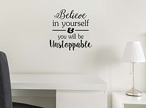 (Imposing Design Believe in Yourself and You Will be Unstoppable 11 X 11 Vinyl Wall Art Quote Decal Sticker Sports Team Decor Motivational Inspirational Wall Decorative Lettering Curry Inspired)
