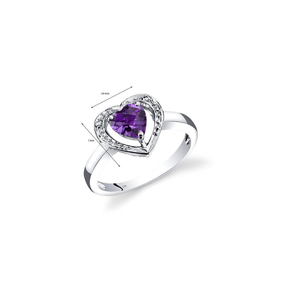 14K White Gold Amethyst Diamond Heart Shape Promise Ring 0.75 Carats Total