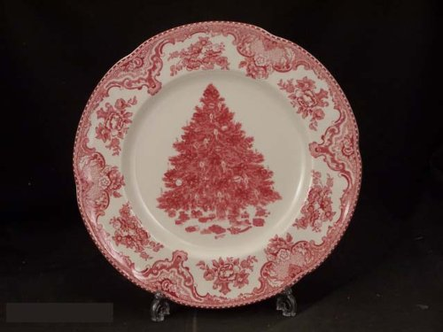 Christmas Tablescape Décor - Vintage Johnson Brothers Old Britain Castles Christmas Tree Edition pink/red dinner plate