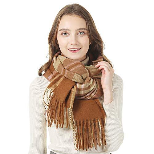 YIVEKO Infinity Scarf with Zipper Pocket Women Plaid Scarf Winter Cashmere Feel