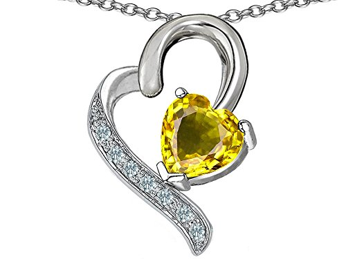 Star K 7mm Heart Shape Simulated Citrine Heart Pendant Necklace Sterling Silver ()