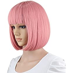 """eNilecor Short Bob Hair Wigs 12"""" Straight with Flat Bangs Synthetic Colorful Cosplay Daily Party Wig for Women Natural As Real Hair+ Free Wig Cap (Pink)"""