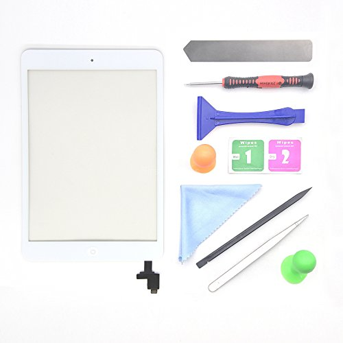 White iPad Mini 1 or 2 Touch Screen Digitizer Complete Assembly with IC Chip & Home Button Replacement with Tool kit Chips by First Choose
