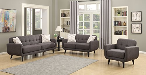 AC Pacific Crystal Collection Upholstered Charcoal Mid-Century 3-Piece Living Room Set with Tufted Sofa, Loveseat, and Arm Chair and 4 Accent Pillows, Charcoal