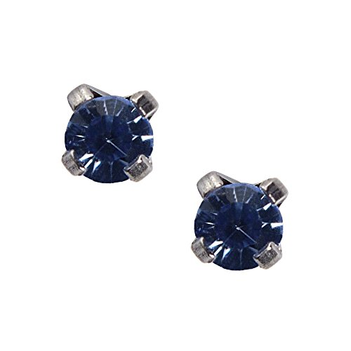 Studex Sensitive Mini 3mm September Sapphire Stainless Steel Claw Set Stud - Earrings Motif Sapphire