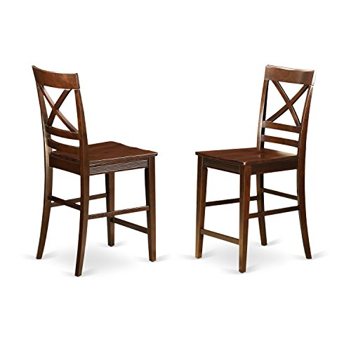 East West Furniture QUS-MAH-W Quincy Counter Height Stools With X-Back in Mahogany -Set of 2