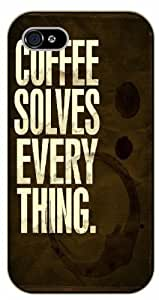 iPhone 5C Coffee solves everything - black plastic case / Life quotes, inspirational and motivational / Surelock Authentic