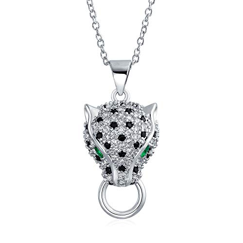 Art Deco Style Black White Cat Green Eye Cubic Zirconia CZ Panther Pendant Necklace for Women Silver Plated Brass