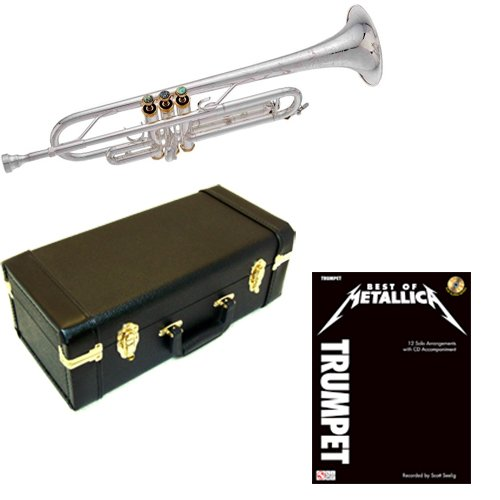 Best of Metallica Bb Silver Plated Trumpet Pack - Includes Trumpet w/Case & Accessories & Metallica Play Along Book by Trumpet Play Along Packs