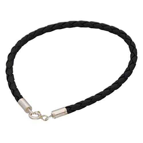 Faux Silver Bracelet (Sterling Silver Black Braided Faux Leather Bracelet 7