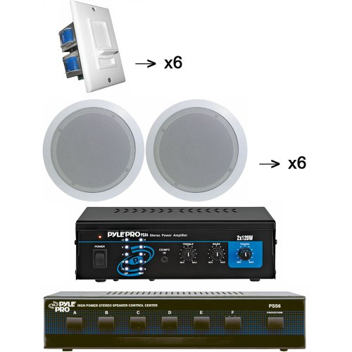 Impedance Matching Stereo Volume Control (Pyle Studio Audio System Package for the Studio, Bar, Concert, Stage, Performance, Home, etc. - PCA4 Mini 2x120 Watt Stereo Power Amplifier - PSS6 6 Channel High Power Stereo Speaker Selector - x6 PDIC51RD 6 Pairs of the 5.25'' Two-Way In-Ceiling Midbass Speaker System (6 Pairs) - x6 PVC2 6 of the Wall Mount Impedance Matching Vertical Sliding Volume Control)