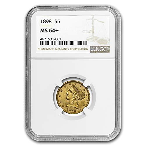 1898 $5 Liberty Gold Half Eagle MS-64+ NGC G$5 MS-64 NGC
