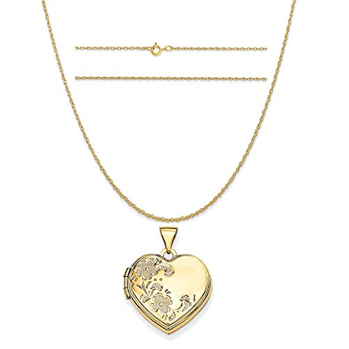 14k Yellow Gold 18mm Polished Heart-Shaped Floral Locket Pendant on a Rope Chain Necklace, 18
