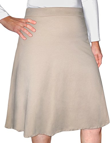 Kosher Casual Women's Modest Knee-Length A-Line Skirt Small Khaki Beige