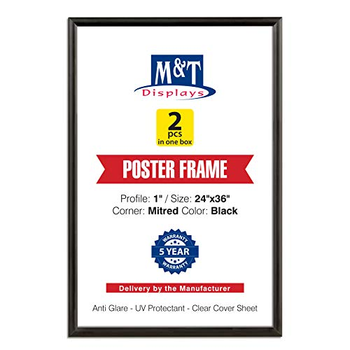 M&T Displays Snap Frame 24x36 Inch Poster Size, 1 Inch Black Color Aluminum Profile, Front Loading, Mitered Corner (2 Frames)