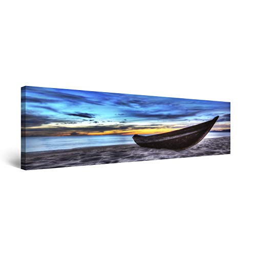 STARTONIGHT Canvas Wall Art Boat on The Beach - Beach Framed 16 x 48 Inches Beach Outdoor Canvas Painting