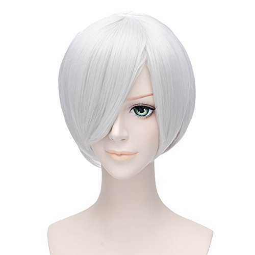 HH Building Devil May Cry 4 Nero Short Layers Anime Cosplay Hair Wig (White)