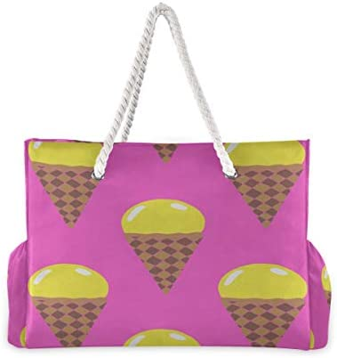 Beach Duffle Bag Colorful Cute Sweet Round Ball Ice Cream Beach Tote Women Beach Tote 20.5 X 7.3 X 15 Inch Zipper Closure With Cotton Handle For Picnics Travel Vacations