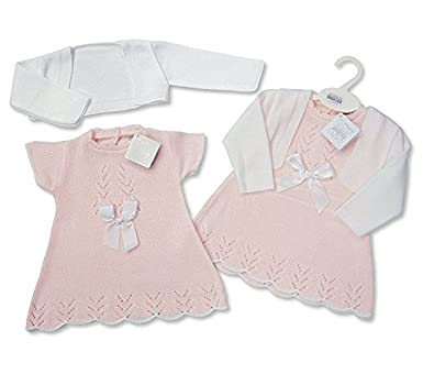 7acb3dd65 Knitted Baby Girls Spanish Style Dress   Bolero Set - Bow Newborn 0 ...
